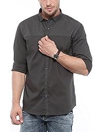 SHOWOFF Mens Grey Printed Casual Shirts