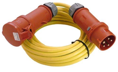 as - Schwabe 60714 CEE-Verlängerung 400V / 16A, 10m K35 AT-N07V3V3-F 5G2,5 mit Phasenwendestecker, gelb, IP44 Aussenbereich