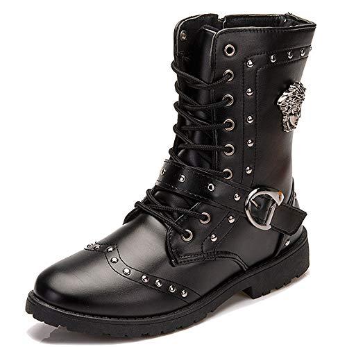 Kalb-leder-lace Up Schuhe (MERRYHE Männer Mode Martin Stiefel High Top Lace Up/Zip Schuhe Rivet Short Boot PU Leder Mitte Kalb Stiefel Schwarz Cowboy Biker Schuhe,Black-43)