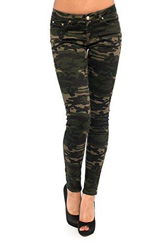 Damen Jeans Hose Skinny Röhre Camouflage Damenjeans Army Hüftjeans Hüfthose Stretch, Größe:36/S
