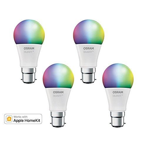 OSRAM Smart+ Lot de 4 Ampoules LED Connectées | Culot B22 | Forme Standard | Dimmable | 16 Millions de couleurs | 10W (équivalent 60W) | Bluetooth - Compatible Siri sur Apple & Alexa sur Android