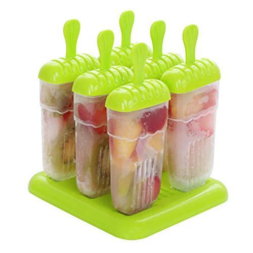 hunptail Eisformen 6 Eislutscher Formen EIS am Stiel Formen BPA-frei Eisformen für Kinder, Familien (grün)