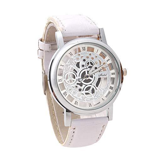 Retro Herren Damen mechanische Automatik-Uhr Bronze mit Lederarmband Herren Skeleton Uhr Mechanisch Skelett Uhren Casual Business Armbanduhr