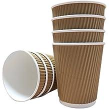 Thali Outlet - 100 Vasos de Papel Kraft de 236ml + Tapas Blancas - Vasos Aislados para Té, Café, Capuchino, Bebidas Calientes