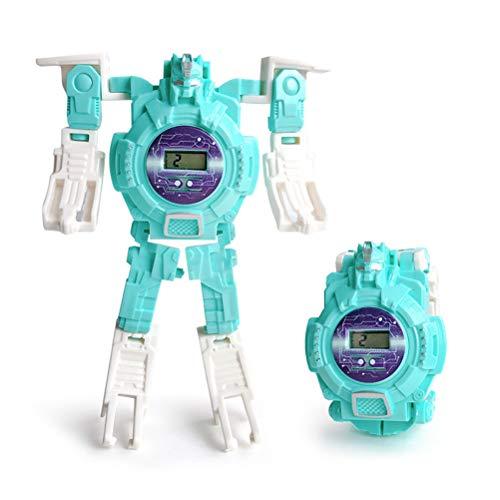 Creamon Roboter-Uhr-Spielzeug, Roboter-Uhr-Spielzeug verformte Digitaluhr-Kinder wandeln Roboter-Spielzeug-Grün um