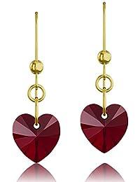 Chapado en oro plata de ley 925& Ruby Corazón Rojo Elementos de Swarovski Crystal gota gancho pendientes