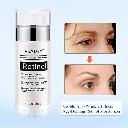 VSADEY 2.5% Retinol Crema para Rostro y Ojos Antienvejecimiento Hidratante Facial • Natural • Reduzca la Crema Antiarrugas con Retinol Activo al 2.5% Ácido Hialurónico y Aceite de Jojoba 50 ml