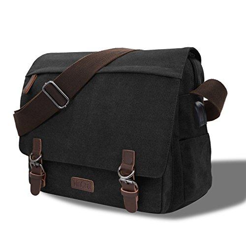 WinCret 15.6 Zoll Laptop Umhängetasche mit USB Ladeanschluss Wasserfest Vintage Canvas Herren Schultertasche Messenger Bag für Arbeit Schule - Laptoptasche für Herren und Damen - Schwarz (Tasche Messenger Schwarz Bag)