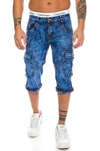 Herren Cargo Shorts Jeans Shorts Biker Style Bleached Shorts Denim Bermuda Capri (TA 300, 37) Biker-denim