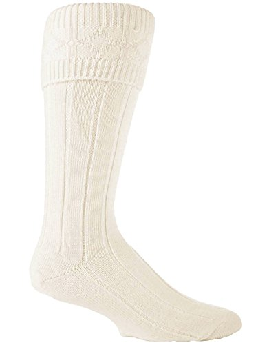 Sock Snob Chaussettes de kilt pour homme Mélange de laine Crème 39-45 Eu (Kilt)