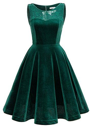 MUADRESS MUA6009 Samt Kleider Mit Spitze Knielang Damen Kleiderer Ohne Arm Vintage Kurz Kleider Grün L (Grün, Pink, Kleid)