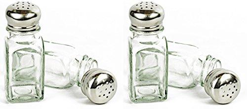 Set von Glas Salz und Pfeffer Shaker mit Edelstahl Mushroom Top-/Bratenspritze-Perfekt für jeden Tisch. (Mason Shaker Top)