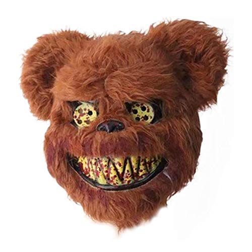 Kopf Kostüm Kaninchen Böse - RunkeU Halloween Teddy Bear Maske Halloween Ghost Festival Maske - Masquerade Horror Scary Head Cover Geistermaske Brown Plüschmaske Kind Erwachsene Performance Requisiten