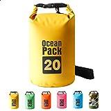 HUIDALI Sac étanche 5L / 10L / 15L / 20L pour la Pratique des Sports Nautiques Kayak/Rafting/Bateau/Natation/Camping/Randonnée/Plage/Pêche/Flottant/Canoë Sac à Dos (Yellow, 20L)