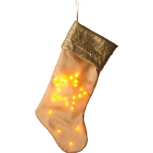 HEITRONIC Beleuchteter Socken, Weihnachtsstrumpf gold
