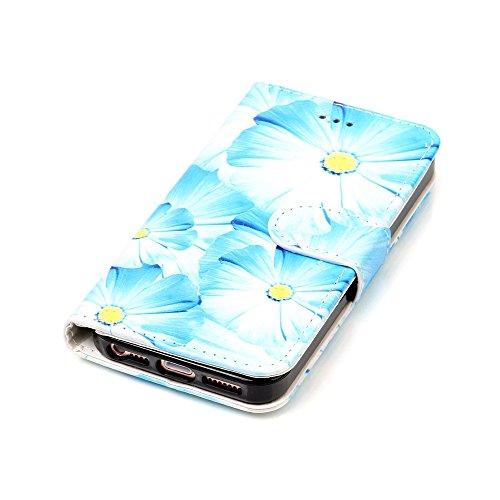 """MOONCASE iPhone 5/iPhone 5s/iPhone SE Hülle, [Colorful Pattern] Stoßfest Ganzkörper Schutzhülle mit Ständer Leder Handytasche Case für iPhone SE 4.0"""" Pink Green Orchid"""