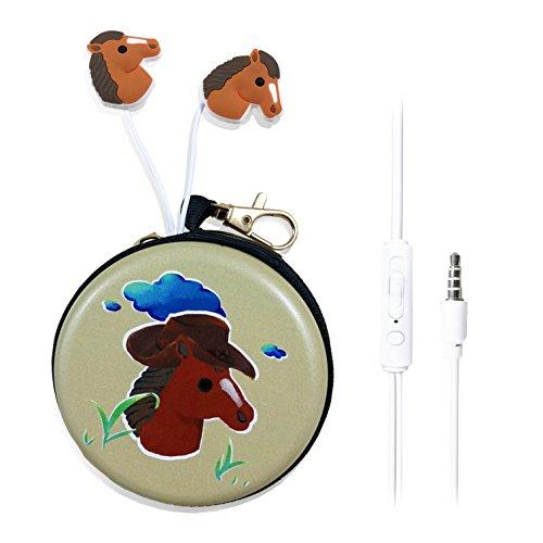 QearFun In Ear - Auriculares de Diadema con micrófono y Funda para Auriculares, 3,5 mm, con diseño de Unicornio en 3D, Manos Libres, para Apple, Samsung, Android Smartphones Mp3 Cowboy Horse