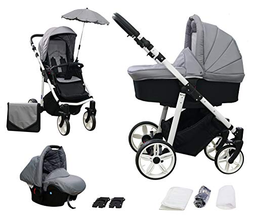 *Skyline 3in1 Kombi Kinderwagen mit einem Aluminium Gestell, Babywanne, Sport Buggyaufsatz und Babyschale (ISOFIX) (Grau)*