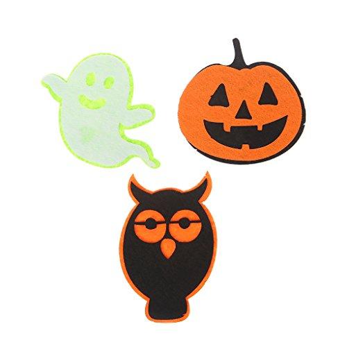 Fogun 1pc Ghost Kürbis Eule Vlies Filze Patch Happy Halloween Sammlungen für Halloween, Home, Schule, Büro, Party Indoor und Outdoor-Wal-Dekoration