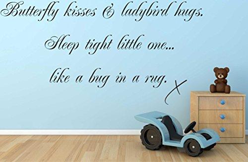 Butterfly Kisses coccinella Little Hugs & Sleep Tight One B7-Adesivo da parete per camera da letto, nero, 775mm x 400mm