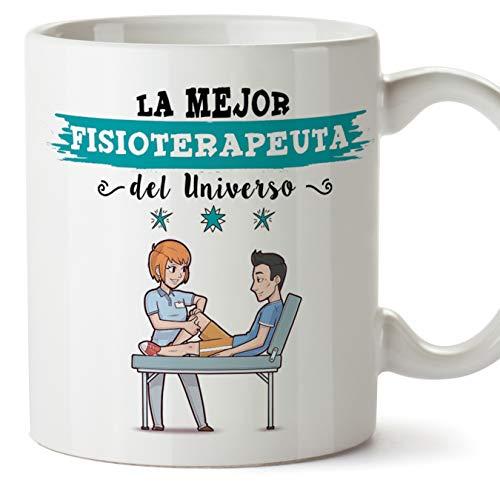 Mugffins fisioterapeuta. Tazas Originales de café y Desayuno para Regalar a Trabajadores Profesionales - Esta Taza Pertenece a la Mejor Fisioterapeuta del Universo - Cerámica 350 ML