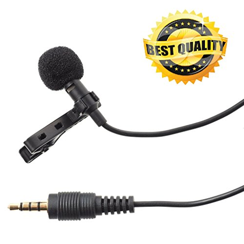 Brobeat 3.5MM Clip On Mini Lapel Lavalier Microphone for Android/iOS Devices (Black)
