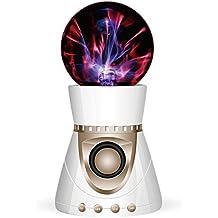 Garyesh Bola Mágica del Plasma Bluetooth Estéreo de Altavoz Apoyar Tarjeta del SD (Blanco-Oro)