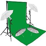 Support de fond avec système pour studio photo 280 x 300 cm et Vert 3x6 mt Toile de Fond Tissu PUR COTON Kit d'éclairage Lumière du jour Kit Éclairage Douille Parapluie pour Lumiere 80W 5500K nature morte pour Photographie