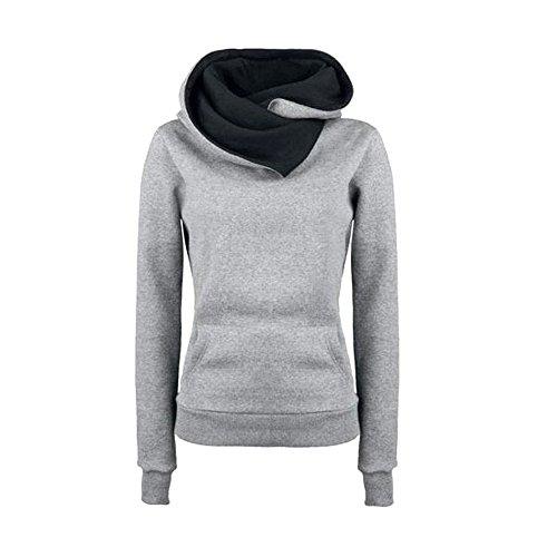 VECDY Damen Pullover,Räumungsverkauf- Herbst Frauen Langarm Hoodie Sweatshirt Pullover mit Kapuze Baumwollmantel Pullover Lässige hohe Kragen warmen Pullover Hoodie(grau,44)