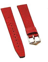 orig. Fortis Reloj de pulsera Cuero Rojo con costuras rojas 14mm Nuevo 8513