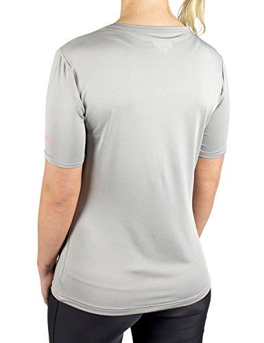 Gregster - T-Shirt de Sport / Fitness - Manches courtes - Col en V - Pour Femmes - Parfait pour les Activités en intérieur et en extérieur - Matière ultra légère - Plusieurs Coloris disponibles Gris - Gris