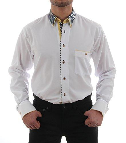 Festliches Hemd in Weiß, für Herren BESTE QUALITÄT, HK Mandel Bügelfreies Hemd Langarm Normal Nicht Tailliert, 3045 Weiß
