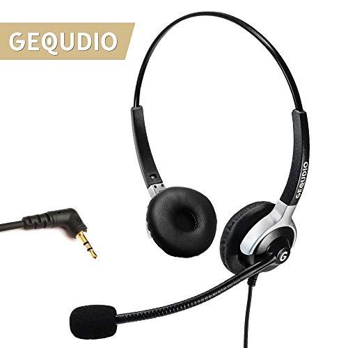 GEQUDIO Headset mit 2,5mm Klinkenstecker geeignet für Gigaset ®*, Cisco SPA®*, Panasonic®*, Grandstream®*, Polycom®* Telefone (2-Lautsprecher) - Headsets Telefone Mit