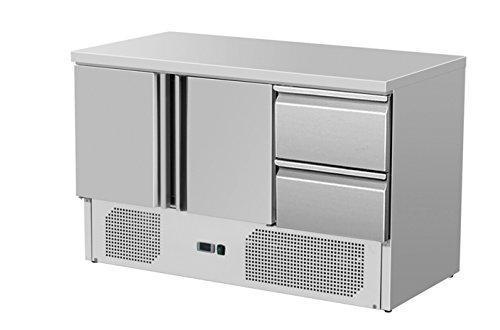 Zorro - Kühltisch ZS 903 2D - 2 Türen - 2 Schubladen - Gastro Saladette mit Arbeitsfläche - R600A - Digitales Thermostat
