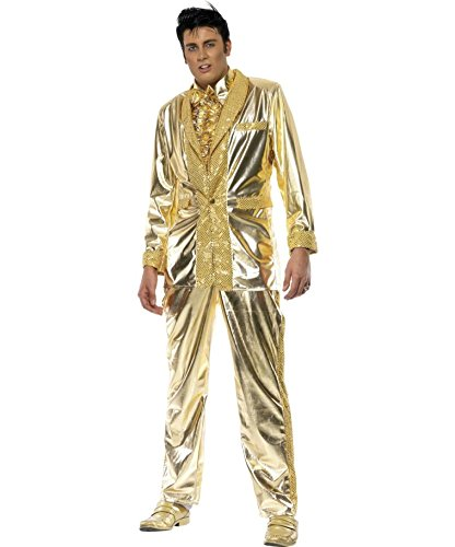 Amakando Goldenes Elvis Kostüm Rock'n'Roll Anzug M 48/50 Elviskostüm Herren Herrenkostüm The King Rockabilly Outfit 50er ()