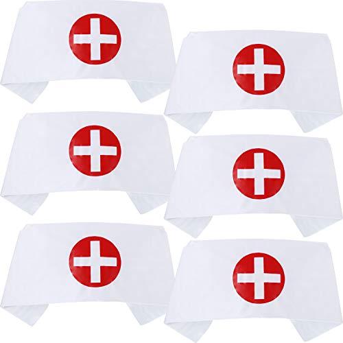 Sombrero de Enfermera Gorra de Disfraz de Enfermera de Cruz Impresa Gorro de Enfermera Blanco para Disfraz de Halloween Accesorios de Fiesta de Disfraz (6 Piezas)