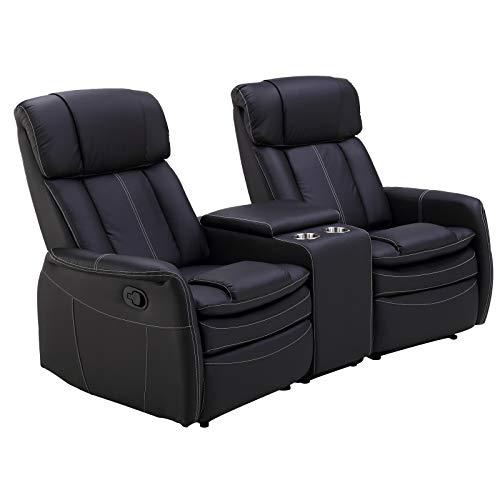 MACOShopde by MACO Möbel 2er Kinosessel MAXX - Zweisitzer Doppelsitzer Cinema Relaxsessel TV-Sessel mit Getränkehalter Verstellbarer Fernsehsessel mit Liege-/ Relaxfunktion, schwarz