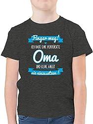 Sprüche Kind - Ich Habe eine verrückte Oma blau - 152 (12/13 Jahre) - Anthrazit Meliert - F130K - Kinder Tshirts und T-Shirt für Jungen