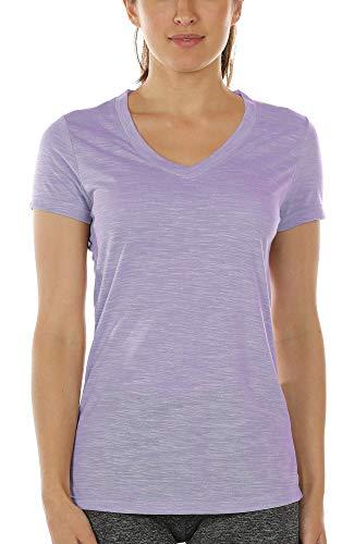 icyzone Damen Sport T-Shirt V-Ausschnitt - Laufshirt Kurzarm Top Trainingsshirt Fitness Oberteile Sportbekleidung (S, Lavender)