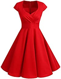 cd6ba966544 Bbonlinedress Robe Femme de Cocktail Vintage Rockabilly Robe plissée au  Genou sans Manches col carré Rétro
