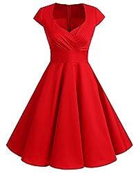 bbonlinedress 1950er Vintage Retro Cocktailkleid Rockabilly V-Ausschnitt Faltenrock Red XL