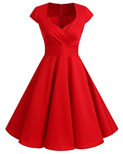 Bbonlinedress 1950er Vintage Retro Cocktailkleid Rockabilly V-Ausschnitt Faltenrock Red M