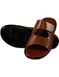 Shoe Bazar Tan Leather Velcro Sandals