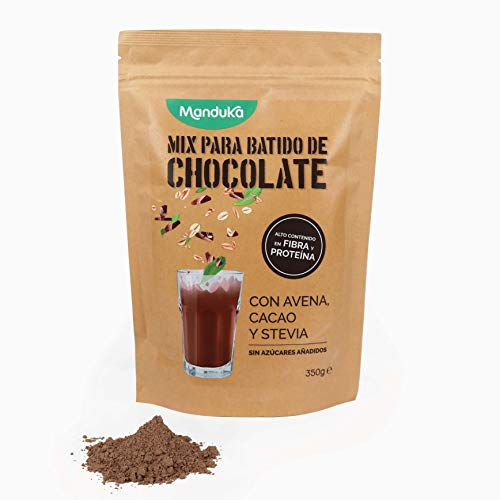 Mix para Batido de Chocolate con Avena, Cacao y Stevia, pack de 350gr de Manduka. Alto Contenido en Fibra, Proteínas, Hierro y Magnesio - Complemento Alimenticio Sin Azúcares Añadidos - 100% Natural