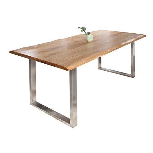 Massiver Baumstamm Tisch GENESIS 220cm Eiche Massivholz Baumkante Esstisch Holztisch Konferenztisch mit Kufengestell aus Edelstahl