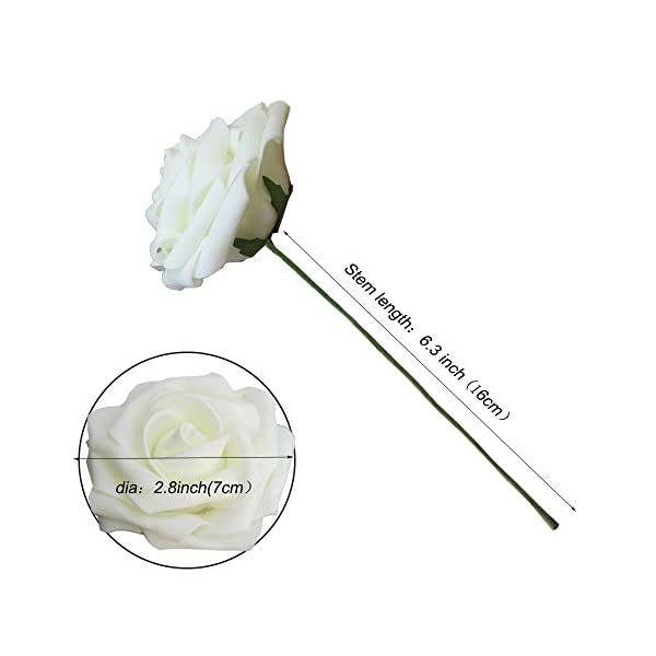 Amajoy – Rosas Artificiales de Color Marfil, 50 Rosas Artificiales de Tacto Real y 6 Hojas Artificiales para Ramos…