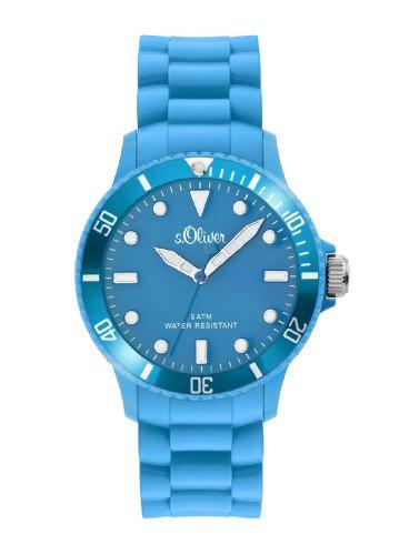 s.Oliver s.Oliver - Reloj analógico unisex de cuarzo con correa de silicona azul - sumergible a 50 metros