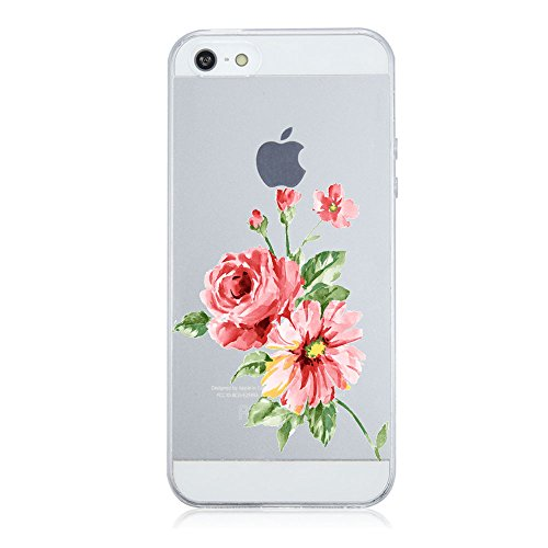 Coque iPhone 5/5S/SE,Vanki® Motif Plantes à fleurs Housse Transparente , Housse TPU Souple Etui de Protection Silicone Case Soft Gel Cover Anti Rayure Anti Choc pour Iphone5/5S/SE 6