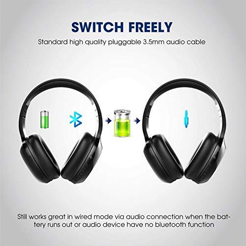 SoundPEATS Bluetooth Kopfhörer Over Ear Kopfhörer 20 Stunden Spieldauer kabellos & 3,5-mm-Audioeingang on Ear Headset Kabelgebundene Kopfhörer Bass Stereo Mikrofon Kompatibel für Samsung/iPhone/Huawei - 5