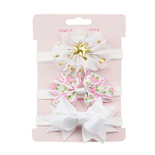 erthome Baby Haarnadel, Kinder elastisches Blumen Stirnband Haar Mädchen Baby Bowknot Haarband Set 3Pcs (Weiß) -